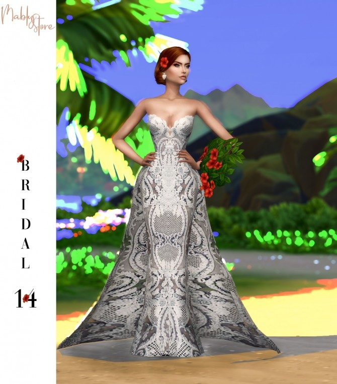 Sims 4 BRIDAL 14 gown + acc at Mably Store