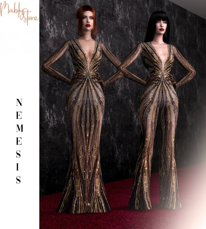 Sims 4 NEMESIS SET gown + jumpsuit at Mably Store
