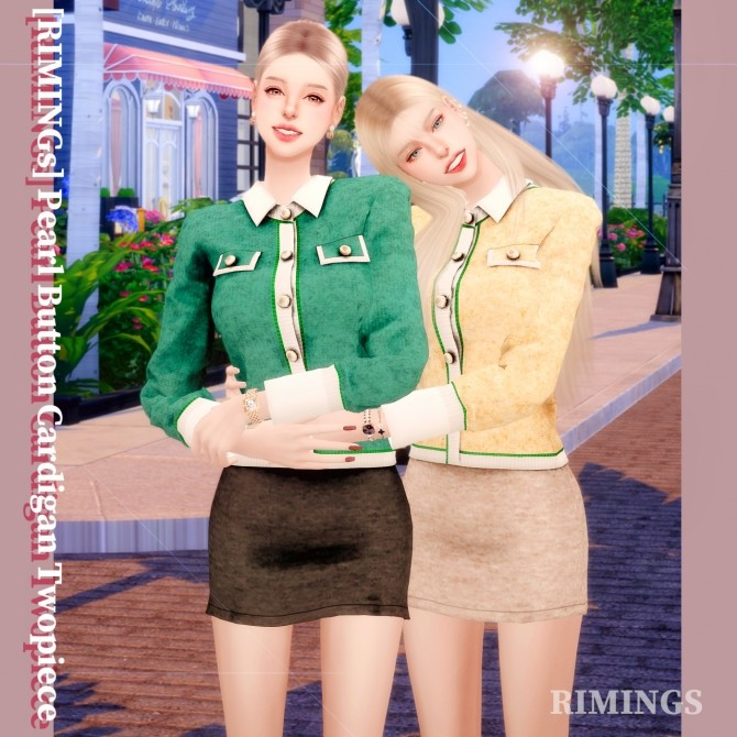 Sims 4 Pearl Button Cardigan Two piece outfit at RIMINGs
