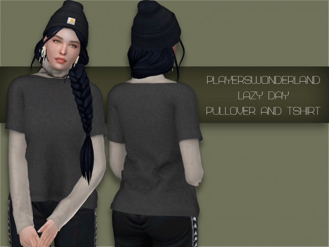 Sims 4 Lazy Day pullover and t shirt by PlayersWonderland at TSR