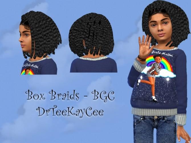 Sims 4 Girls Box Braids by drteekaycee at TSR