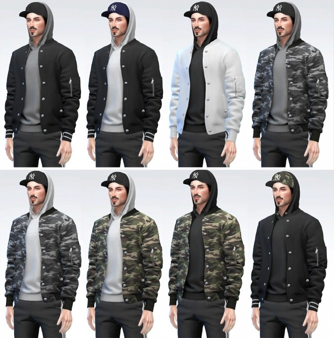Bomber Jacket with Hoodie (Cap) at Darte77 image 10417 670x679 Sims 4 Updates