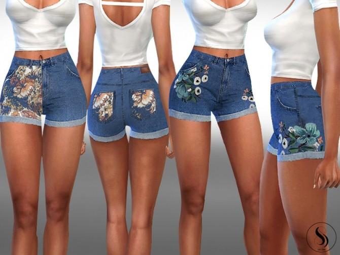 Sims 4 Female Floral Detail Denim Shorts by Saliwa at TSR