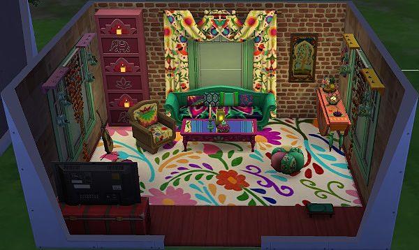 Sims 4 Bohemian Comfort livingroom by Avalanche at Sims Marktplatz