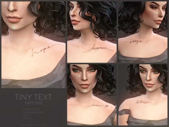 Tiny Text tattoos by sugar owl at TSR image 1109 670x503 Sims 4 Updates