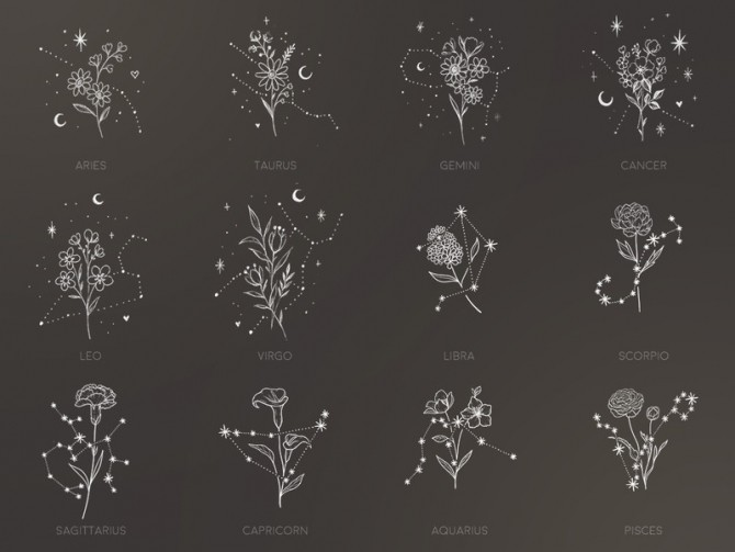 Floral Constellations tattoos by sugar owl at TSR image 11109 670x503 Sims 4 Updates