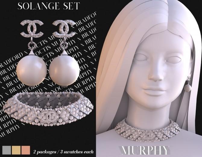 Sims 4 Solange Set: choker & earrings by Silence Bradford at MURPHY