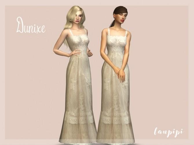 Sims 4 Dunixe wedding dress by laupipi at TSR