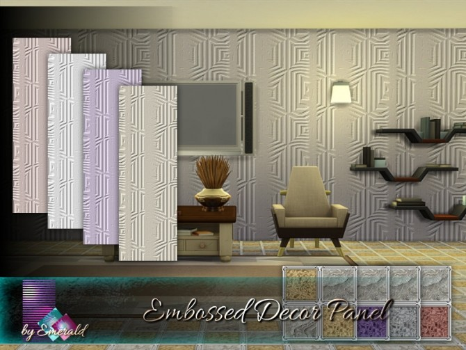 Sims 4 Embossed Decor Panel by emerald at TSR