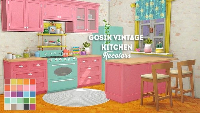 Sims 4 Gosik vintage kitchen recolors at Lina Cherie