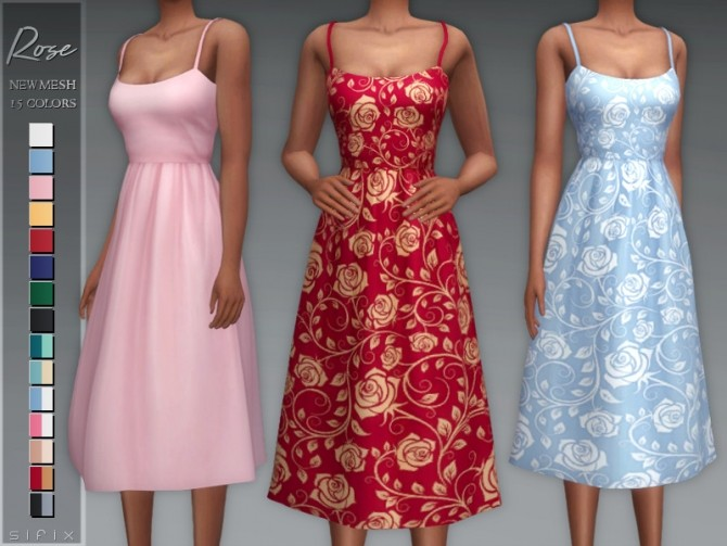 Sims 4 Rose Dress by Sifix at TSR