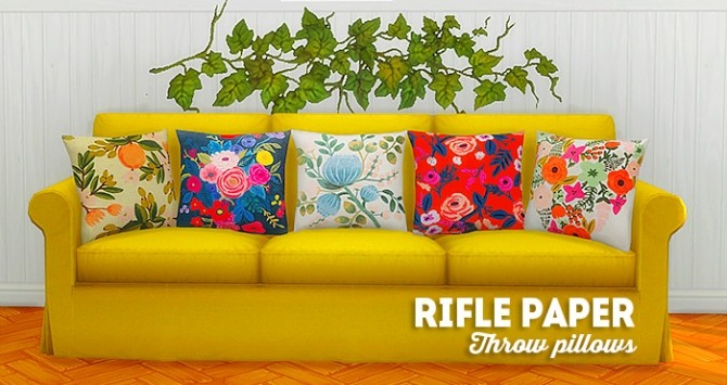 Sims 4 Rifle paper throw pillows at Lina Cherie