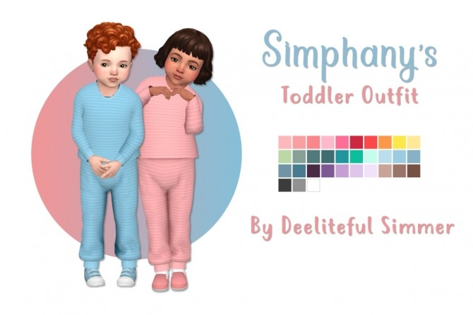 Sims 4 Simphanys toddler outfit recolors at Deeliteful Simmer