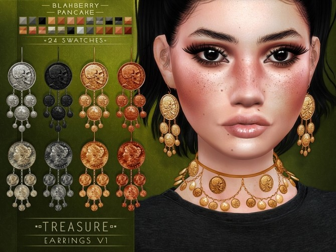 Treasure necklace and earrings at Blahberry Pancake image 12113 670x503 Sims 4 Updates