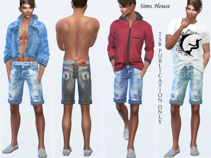 Sims 4 Mens Denim Shorts Shabby by Sims House at TSR