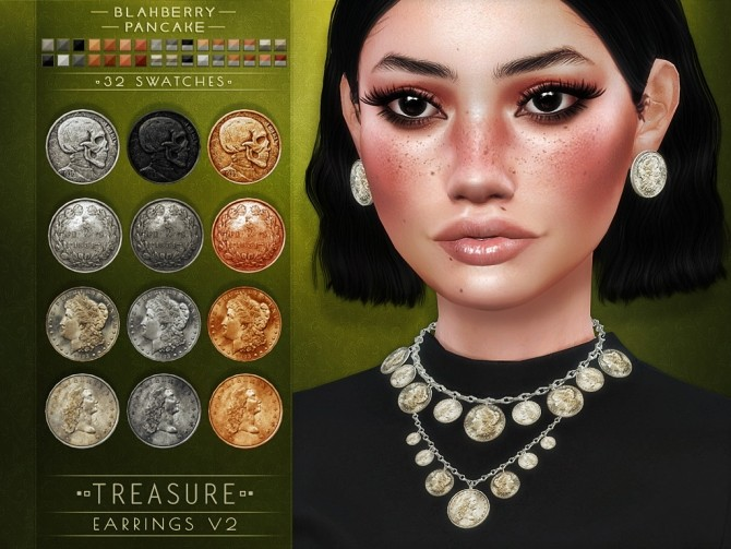 Treasure necklace and earrings at Blahberry Pancake image 1239 670x503 Sims 4 Updates