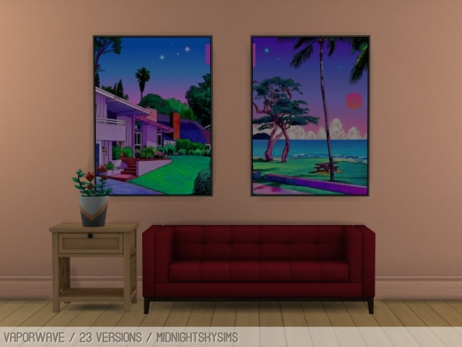 Vaporwave paintings at Midnightskysims image 12521 670x503 Sims 4 Updates