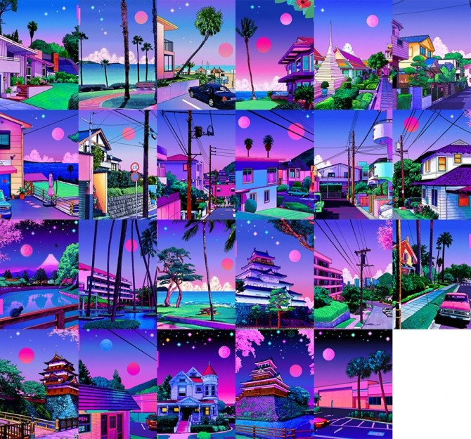 Vaporwave paintings at Midnightskysims image 12620 670x625 Sims 4 Updates