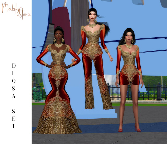 DIOSA SET: 2 dresses & jumpsuit at Mably Store image 12821 Sims 4 Updates