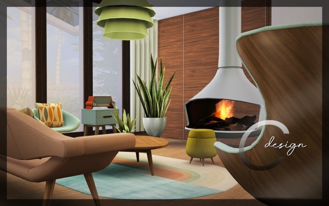 Sims 4 Mid Century home by Praline at Cross Design