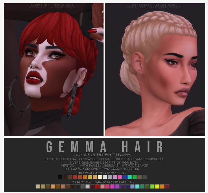 GEMMA HAIR   TWO VERSIONS at Candy Sims 4 image 13217 Sims 4 Updates