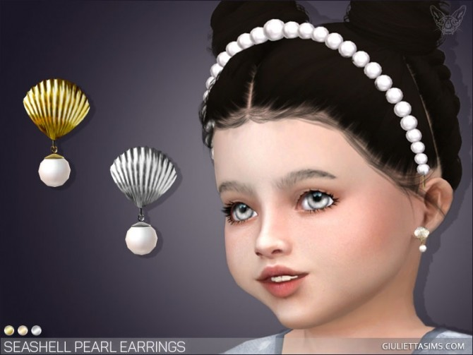 Sims 4 Seashell Pearl Earrings For Toddlers at Giulietta