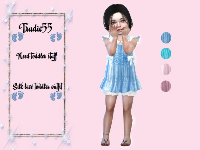 Sims 4 Silk lace toddler outfit by TrudieOpp at TSR
