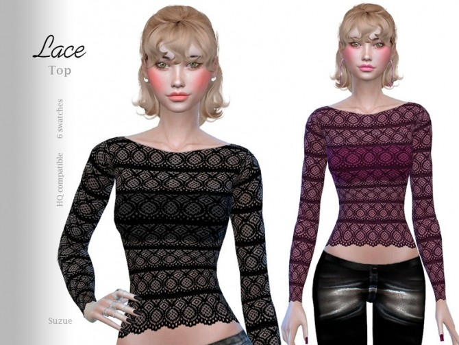 Sims 4 Lace Top by Suzue at TSR