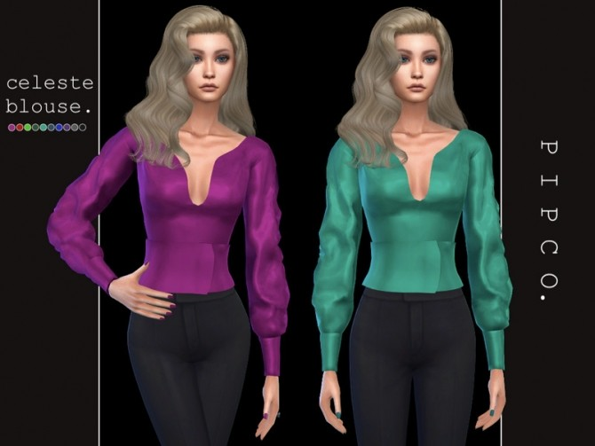 Sims 4 Celeste blouse by Pipco at TSR