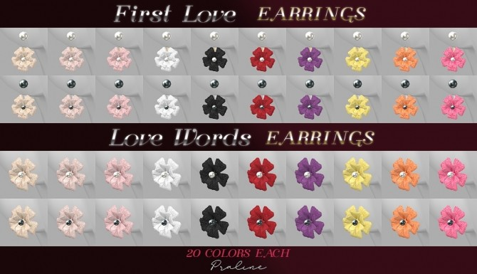 Sims 4 Love words & first love earrings at Praline Sims