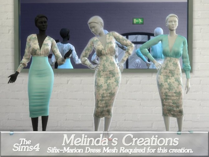 Sims 4 Floral Marion Dress by melindacreations at TSR