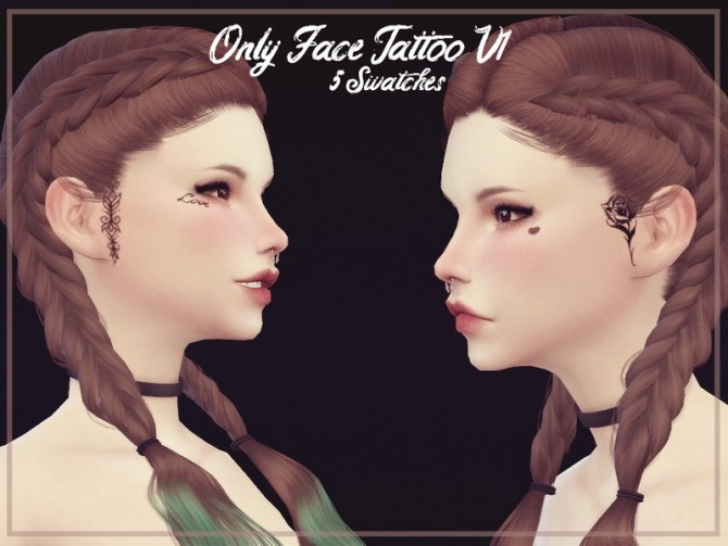 Only Face Tattoo V1 by Reevaly at TSR image 14102 670x503 Sims 4 Updates
