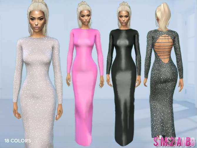 Sims 4 395 Long Sleeve Sequin Dress by sims2fanbg at TSR