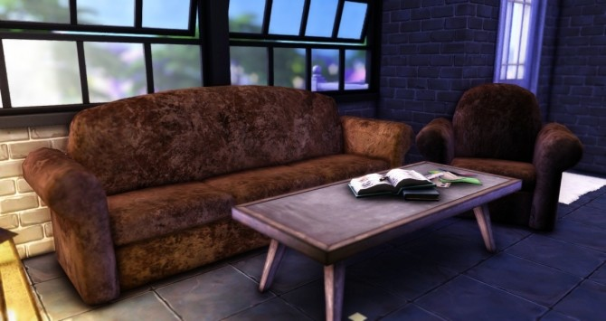 Sims 4 Grunge Leather Sofa & Coffee Table at Haruinosato's CC