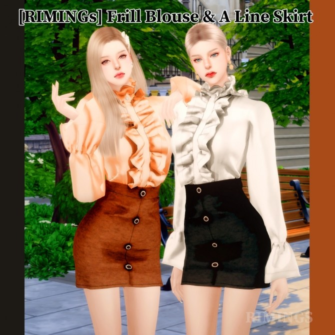 Frill Blouse & A Line Skirt at RIMINGs image 14222 670x670 Sims 4 Updates