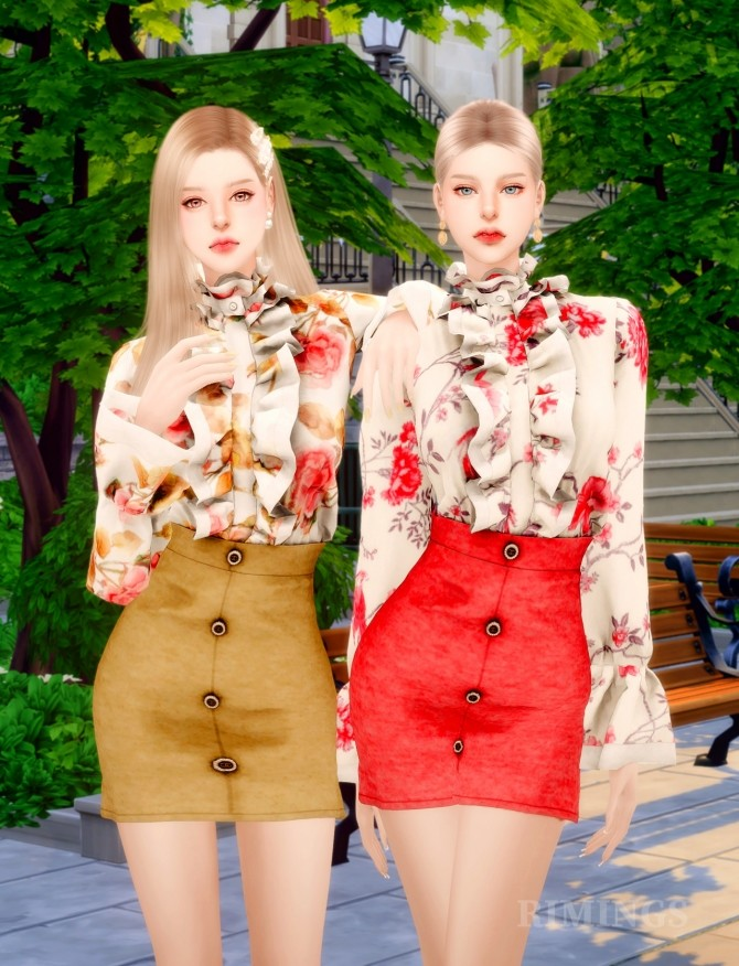 Frill Blouse & A Line Skirt at RIMINGs image 14320 670x876 Sims 4 Updates