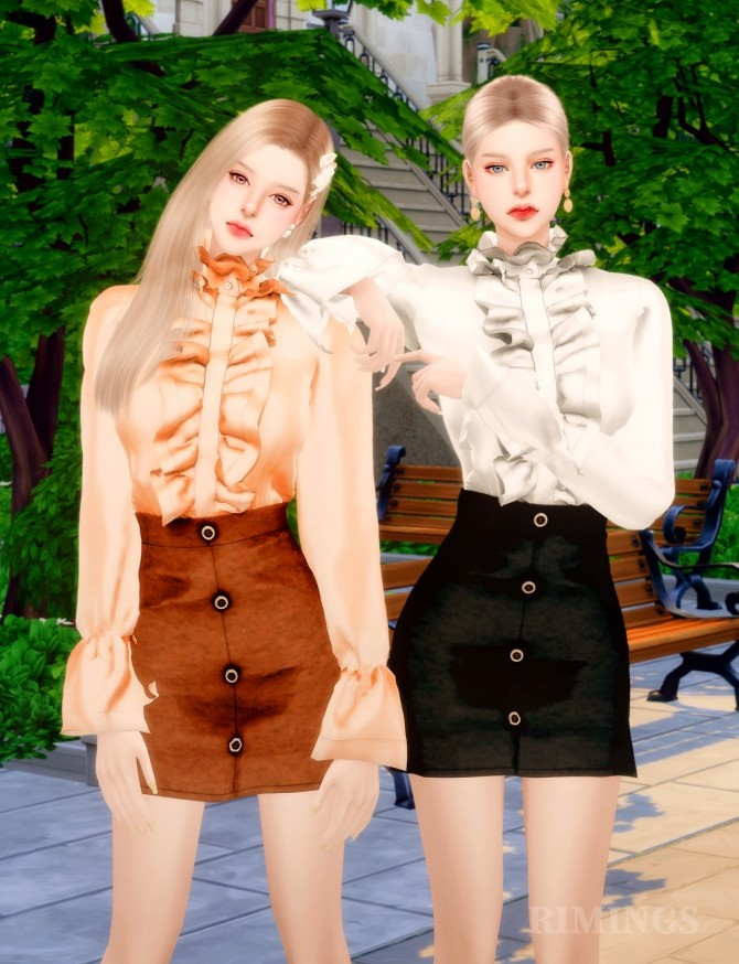 Frill Blouse & A Line Skirt at RIMINGs image 14421 670x874 Sims 4 Updates