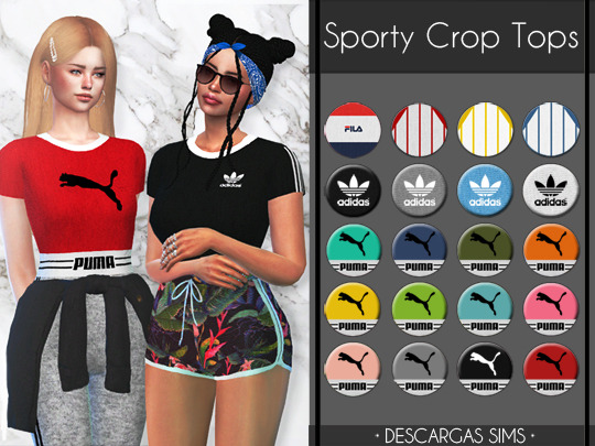 Sporty Crop Tops at Descargas Sims image 1447 Sims 4 Updates