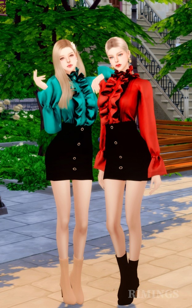 Frill Blouse & A Line Skirt at RIMINGs image 14521 623x1000 Sims 4 Updates