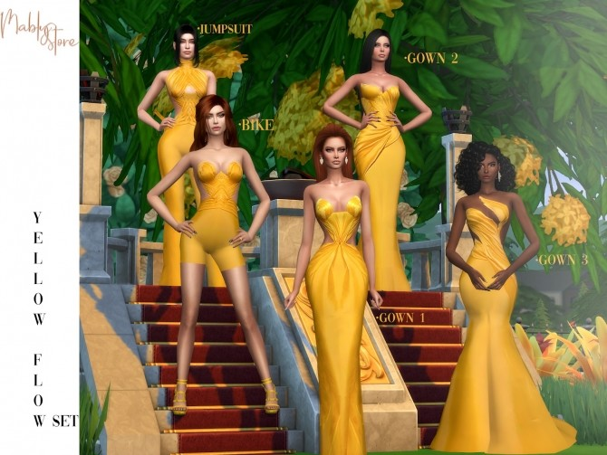 Sims 4 YELLOW FLOW SET at Mably Store