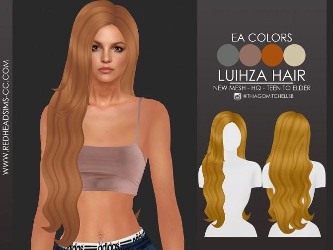 Sims 4 LUIHZA HAIR by Thiago Mitchell at REDHEADSIMS