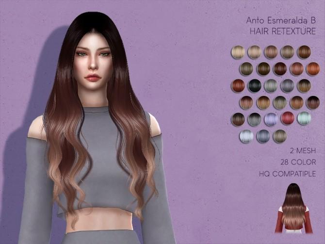 Sims 4 LMCS Anto Esmeralda Hair Retexture by Lisaminicatsims at TSR