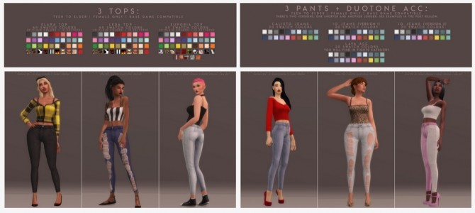 JUPITER SET:  3 tops, 3 pants and a duotone acc. at Candy Sims 4 image 15210 670x300 Sims 4 Updates