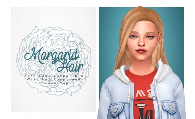 Sims 4 Margarid simple hair pulled back at Isjao