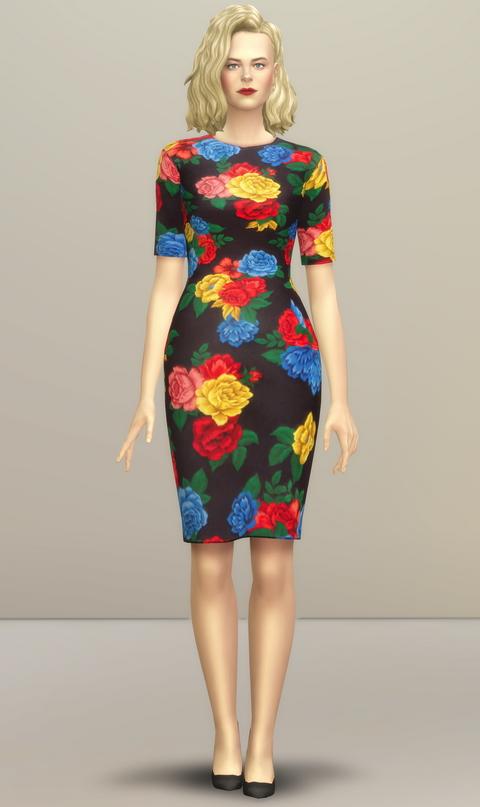 Sims 4 Colorful Floral Dress at Rusty Nail