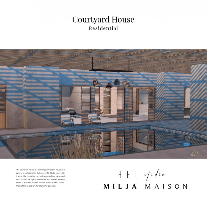 Sims 4 Courtyard house Hel studio at Milja Maison