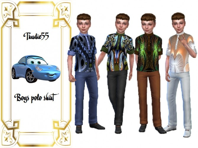 Sims 4 Boys polo shirt recolor by TrudieOpp at TSR