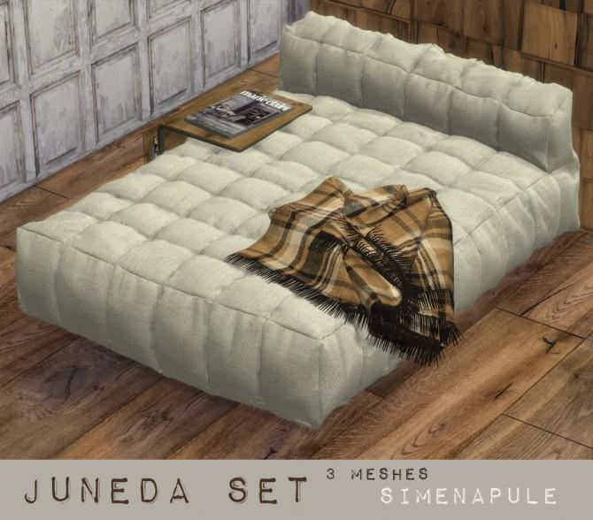 Sims 4 Juneda Set: bed, blanket and bedside table at Simenapule