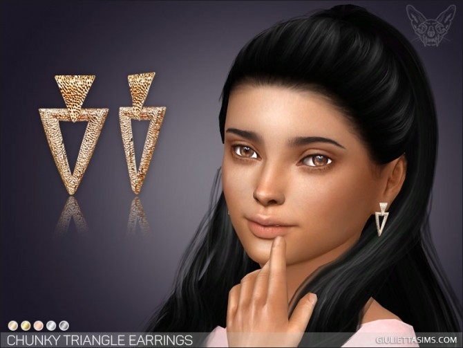 Sims 4 Chunky Triangle Earrings For Kids at Giulietta