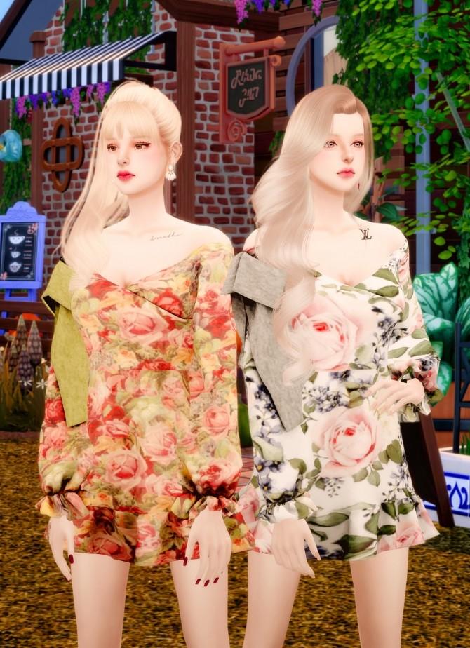 Sims 4 Flower off shoulder ribbon dress at RIMINGs